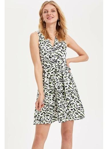 DeFacto Leopar Desenli Slim Fit Elbise Beyaz